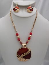 CLIP ON-Gold chain orange beaded necklace & clip on earring set w/round pendant