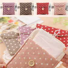 1Pc Women Handbag Purse Polka Dot Cotton Sanitary Napkin Bag Case Organizer