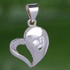 New 925 Sterling Silver & Clear Crystal Heart Pendant Charm With Free Chain