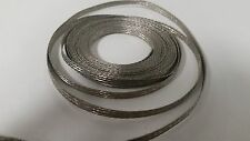 """25 Ft' Flat Braided Tinned Copper Wire 3/16"""" Wide Ground Strap USA"""