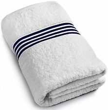 Utopia Towels Luxury Bath Sheet - White with Navy Blue Stripes (30 x 56 Inch)...