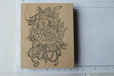 The Cottage Stamper Flower Bouquet Rubber Stamp, Rose, Daffodil, Ribbon