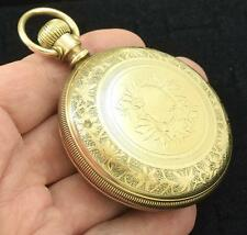 Gold Filled Antique Pocket Watch Elgin Large Size Ornate Case ~ Lot 883