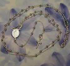 Dolly-Bijoux Collier Chapelet 60cm avec La Vierge et Croix 12mm Argent 925