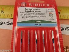 Genuine Singer Green Band Light Ball Point Needle - Size 90/14-Type 2001 - 5pk