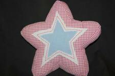 """Stuffed Star Shaped Pillow Pottery Barn Kids Pink Checked 12"""" Plush Blue quilted"""
