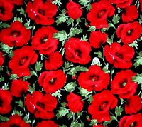Large Red poppies on Black fabric 72 cm x 112 cm JL91172 100% Cotton