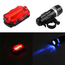 1x 5 LED Lamp Bike Bicycle Front Head Light +Rear Safety Waterproof Flashlights