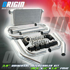"30.5x12x3 FMIC 3.0"" TURBO INTERCOOLER +Aluminum PIPING KIT +Black SILICONE HOSES"