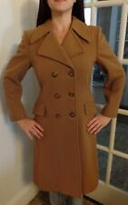 Vintage Wool Womens Trench Coat Beige Overcoat Size Small Made In France