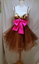 Leopard  Cooper Tulle Sherri Hill mini dress w/ large hot pink bow size 2 - 4