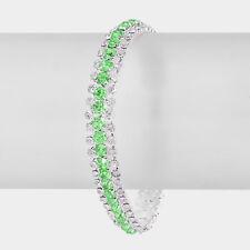 Silver Green and Clear FASHION Rhinestone Evening Bracelet