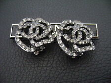 Auth Chanel Vintage Gunmetal & Crystal Camellia Clip Earring(00A)