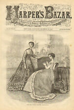 Victorian, Fashion, Evening Dresses, Vintage,1868 Original, Antique Art Print,