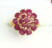 14k Solid Yellow Gold Flowers Cluster Ring, Natural Round Ruby 1.8TCW, Size 7.25