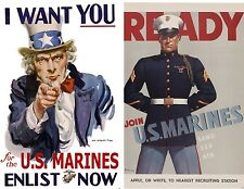 2 USMC I Want You Ready Us Marines Poster Prints WW1 WW2 Uncle Sam Recruit P92