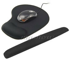 Keyboard Wrist Support & Mouse Pad Mat Set Black Gel Filled Cushion Crystals New
