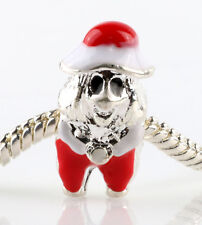 Christmas Santa Claus 925 Silver Charm Beads Fit European Bracelet Chain #L45