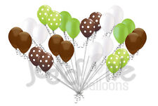 24 pc Brown & Lime Green Polka Dot Latex Balloons Party Decoration Baby Boy
