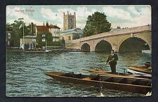 View of a Man Cleaning Boats by Henley Bridge. Stamp/Postmark - 1914.