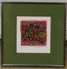 Peinture sur soie 1992 soierie d'art Oiseaux signature?