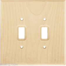 Unfinished Wood Stainable Double Light Switch Wallplate Wall Plate Outlet Cover