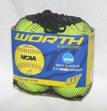 "Worth NC12BB 12"" NCAA 4 Outdoor Training SoftBalls in a Mesh Bag Soft Ball NEW"