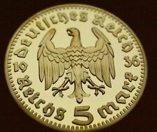 Rare 1936 Nazi Germany Swastika Eagle 5 Reichsmark 1Oz Antique Gold Proof Coin