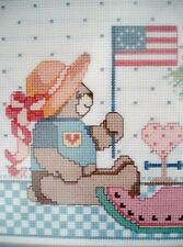 "Completed Teddy Bear ANGEL QUILT 18 3/8"" X 11 3/8"" Framed Cross Stitch PICTURE"