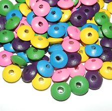 W359 Multicolor Pink Yellow Green Purple Blue 14mm Saucer Rondelle Wood Bead 30g