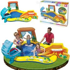 Inflatable Water Slide Park Pool Play Backyard Bounce Spray Waterfall Kids Fun