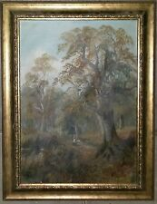 Old Vintage People Walking in the Forest Oil on Canvas not sign