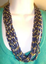 """Chico's """" IONA """"  Necklace Gold Tone & Dark Blue Beads Multi Strand 20"""" long NWT"""
