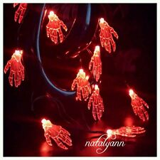 10 LED Red Skeleton Hands Battery Operated Halloween Spooky Decoration  Lights