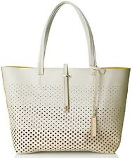 $198 Vince Camuto Women's Leila Snow White Perforated Leather Tote Handbag Large
