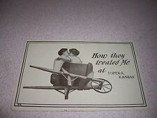 1910s HOW THEY TREATED ME in TOPEKA KANSAS KS. ANTIQUE ADVERTISING POSTCARD