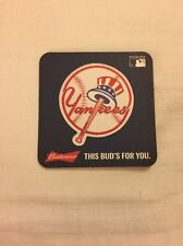 4 INCH BUDWEISER BEER COASTER w/ New York Yankees (2015)  NEW 10 Coaster
