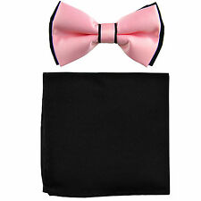 New Men's Two Layer Tones Pre-tied Bow Tie and Hankie Set Pink & Black