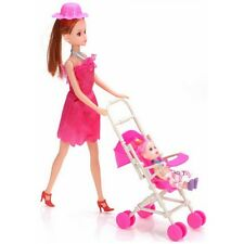 Barbie Doll Furniture Cute Plastic Baby Carriage Stroller Trolley Assemble Xmas