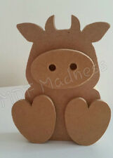 MDF CRAFT SHAPE. WOODEN 3D COW / BULL. 15MM FREE STANDING 15CM HIGH