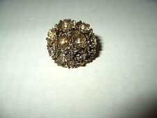 Vintage Signed VANDA Goldtone & Clear Crystal Flower Poison Perfume Ring