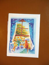 5 quality blank greeting cards Cat at the window  NEW in cello