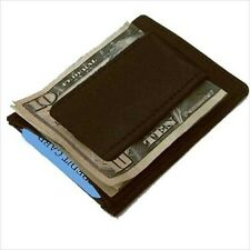 BLACK MEN'S LEATHER MAGNETIC MONEY CLIP Credit Thin Wallet 340 NWT
