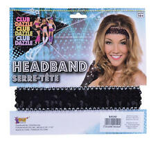 Black Sequin Headband Fame Retro Disco Diva Dancer Fancy Dress