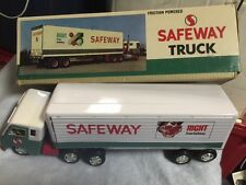 """Vintage 1960s Japan Safeway 16"""" Tin Tractor&Trailer Toy Semi Truck Mint in Box"""