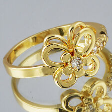 Womens 22K White Gold Plated Vintage  Butterfly Flower Fashion Rings Size 7.5