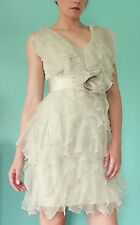 Notte by MARCHESA White Ruffled Silk Dress Size 2