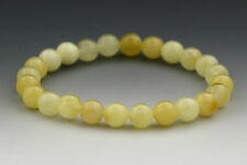 White Butter Round Beads 7mm Genuine Baltic Amber Stretch Bracelet 5.6g b1215-10