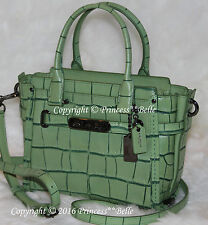 COACH Swagger 21 Satchel Carryall Embossed Leather Bag Purse Pistachio Green