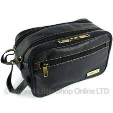 NEW Mens Rowallan Black Leather Wash Bag Travel Toiletries Travel Stylish